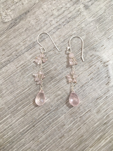 Earrings - Pink Quartz Hanging 2