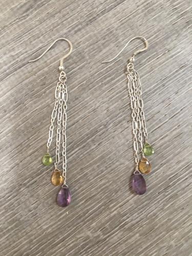 Earrings - Tourmaline Chain Drop
