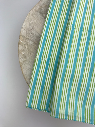 Napkins - Turquoise, Green and Yellow Stripe