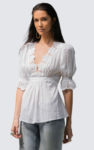 Broderie Border Top - White