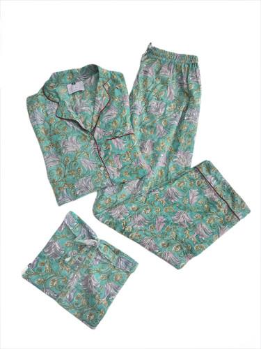 Pajamas - Floral on Sea Green