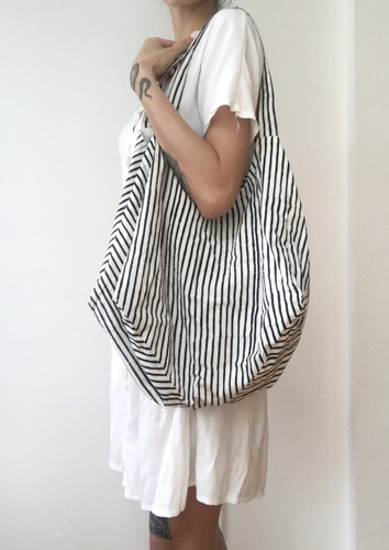 Bucket Bag - Striped Black and white