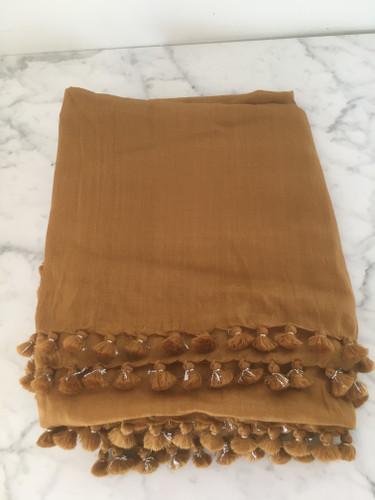 Pom Pom Shawl - Caramel