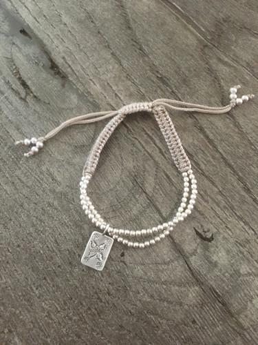 Silver Thread Charm Bracelet - Tan