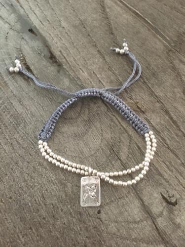 Silver Thread Charm Bracelet - Dark Grey