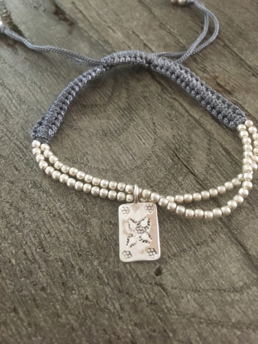 Silver Thread Charm Bracelet - Dark Grey