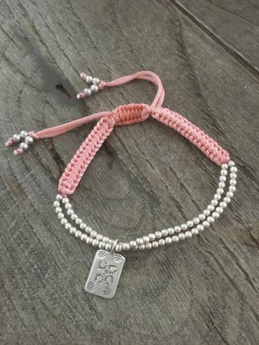 Silver Thread Bracelet - Pink