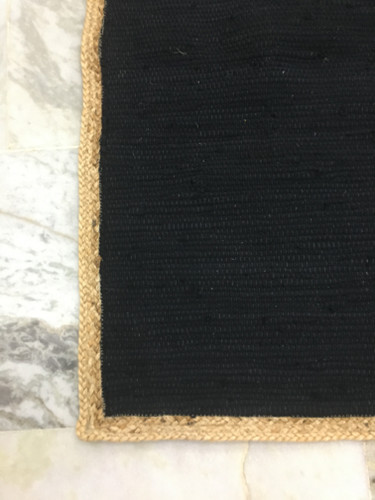 Rug - Black Cotton with Jute border