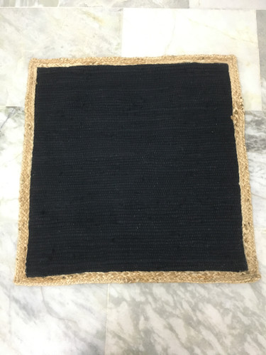 Pillow - Black with Jute Border