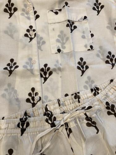 Pajama Short Set - Cream and Black