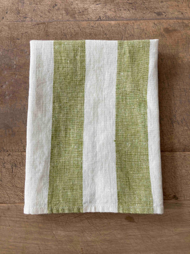 Hand Towel - Olive Green Wide Stripe