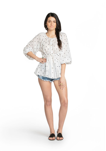 Barine Top - White Embroidered