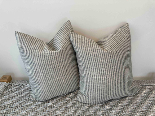 Pillow - Thin Stripe Black and Tan