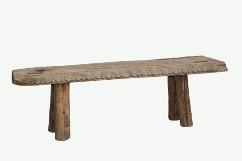 Wood Bench - Hand Carved