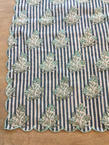 Napkins - Teal Floral, Blue Stripe