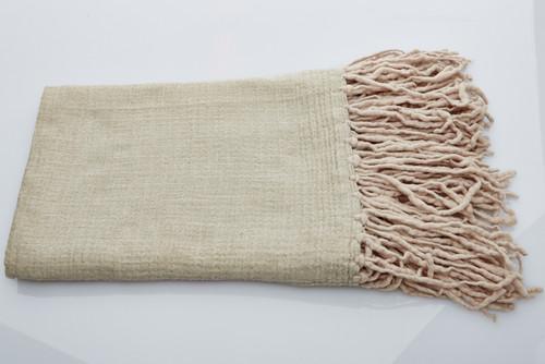 Soft Wool Blanket - Natural Long Fringe