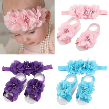 Cute Baby Headband And Shoes Set