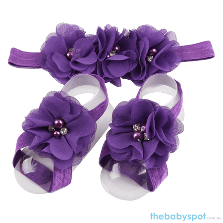 Cute Baby Headband And Shoe Set - Purple