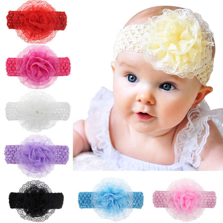 Baby Lace Flower Headband - Wide Elastic Band