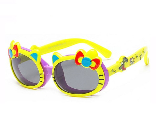 Kids Kitty Flip-Up Sunglasses - PURPLE/YELLOW