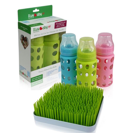ILuvBaby 240ml Glass Baby Bottles 2 Pack  + FREE Drying Rack