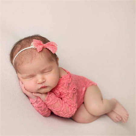 Newborn Lace Romper Photo Prop - Pink