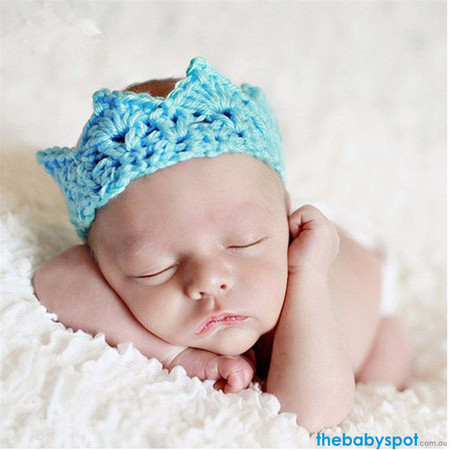 Newborn Crochet Crown Photo Prop - Sky Blue