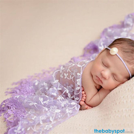 Newborn Lace Wrap - Purple