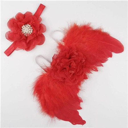 Newborn Angel Wings & Ribbon Headband - Red