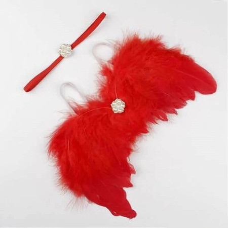 Newborn Angel Wings & Pearl Headband - Red