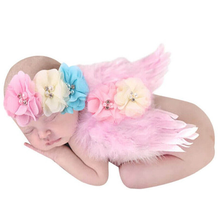 Newborn Angel Wings & 3 Ribbons Headband - Pink