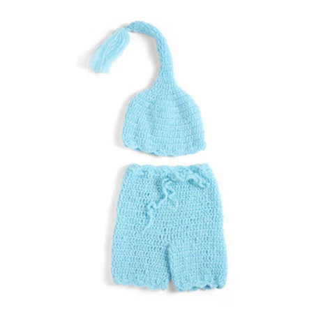 Newborn Long Hat and Trousers Photography Prop - Blue