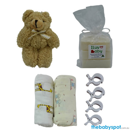 Pack Muslin Wraps With 4 Pram Pegs, Goats Milk Soap And A Teddy