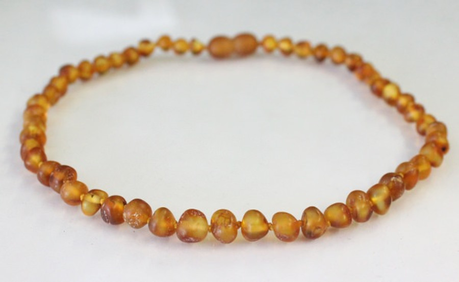 Raw Amber Teething Necklace - Cognac