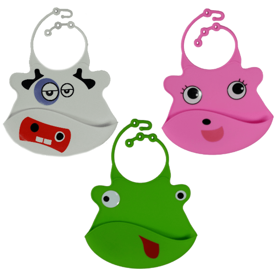 Silicone Baby Bibs with Crumb Catcher - Pack 2