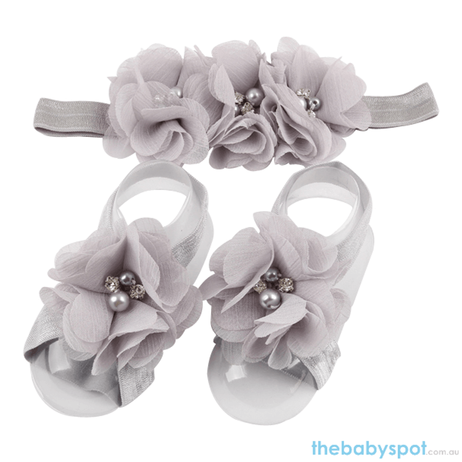 Cute Baby Headband And Shoe Set - Silver