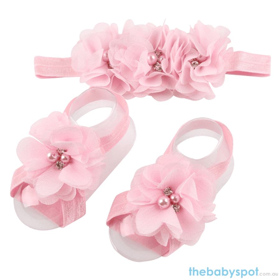 Cute Baby Headband And Shoe Set - Light Pink