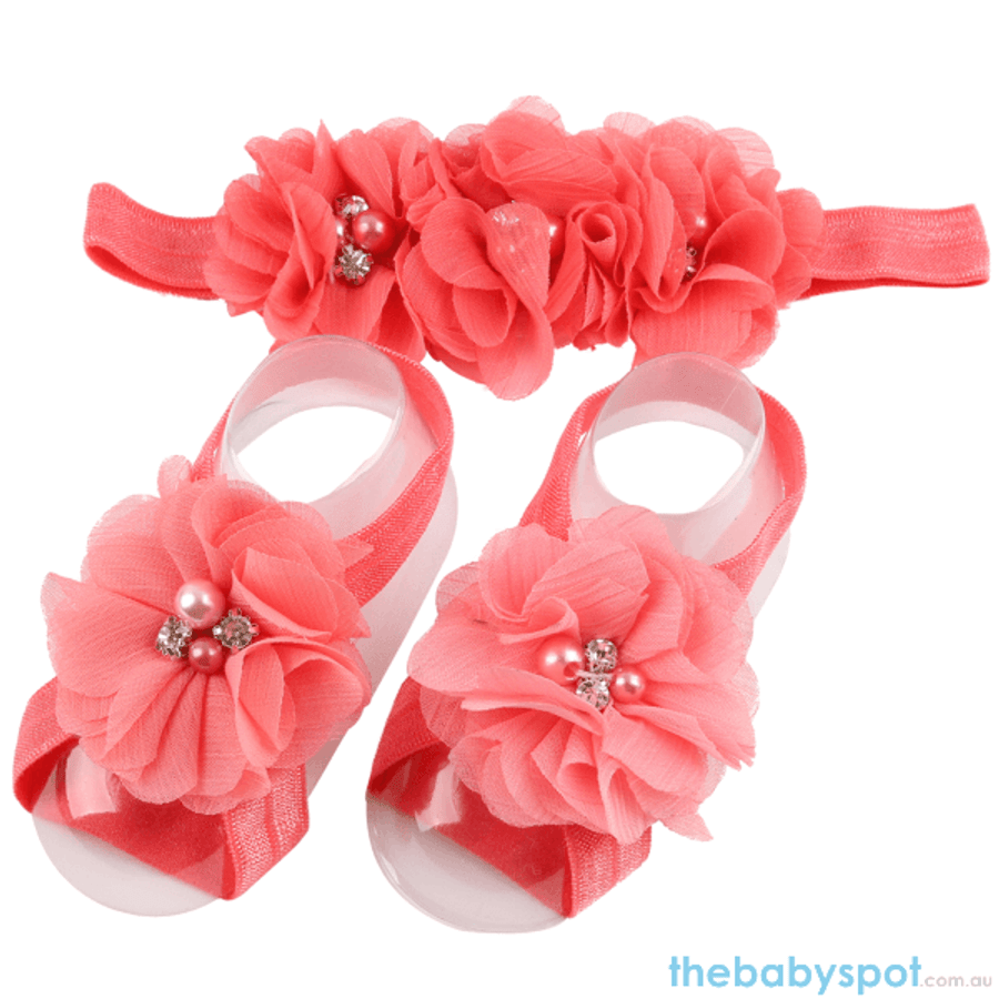 Cute Baby Headband And Shoe Set - Peach