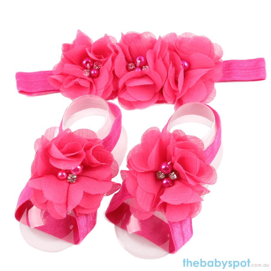 Cute Baby Headband And Shoe Set - Pink