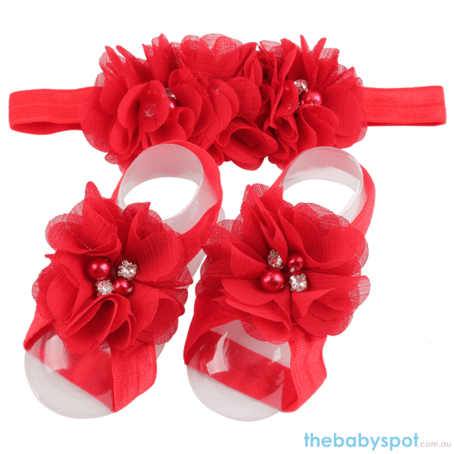Cute Baby Headband And Shoe Set - Red