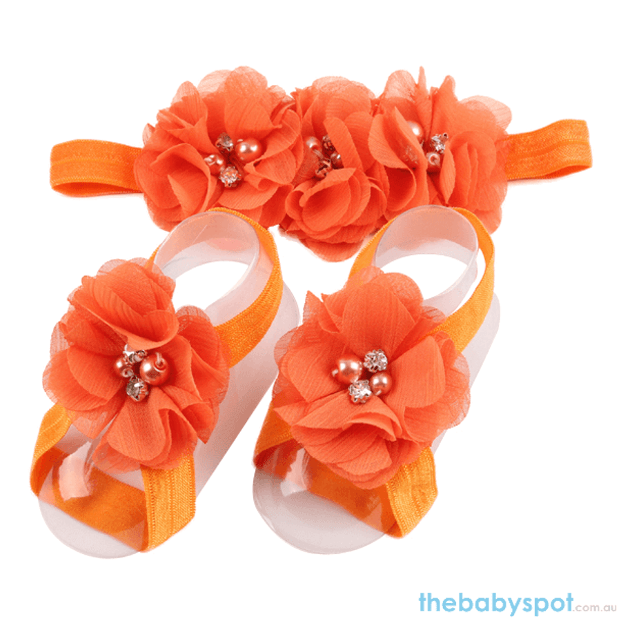Cute Baby Headband And Shoe Set - Orange