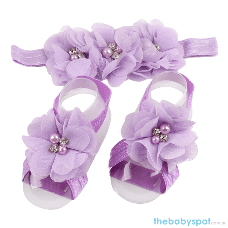 Cute Baby Headband And Shoe Set - Lavender