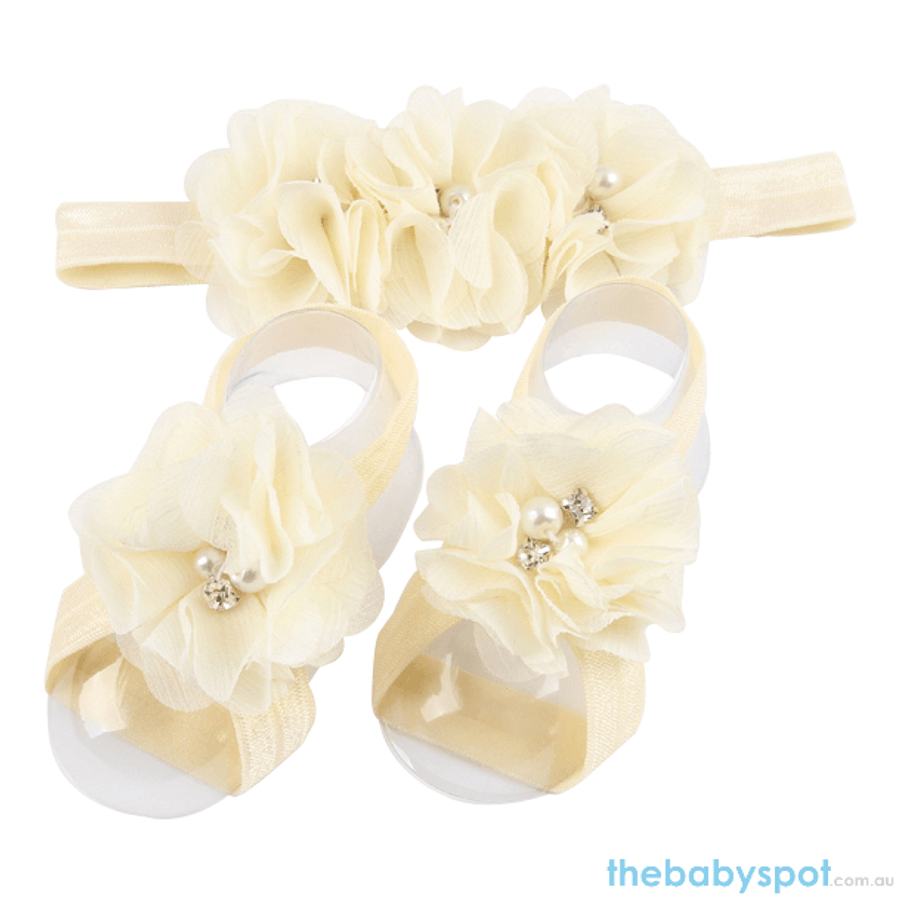 Cute Baby Headband And Shoe Set - Cream