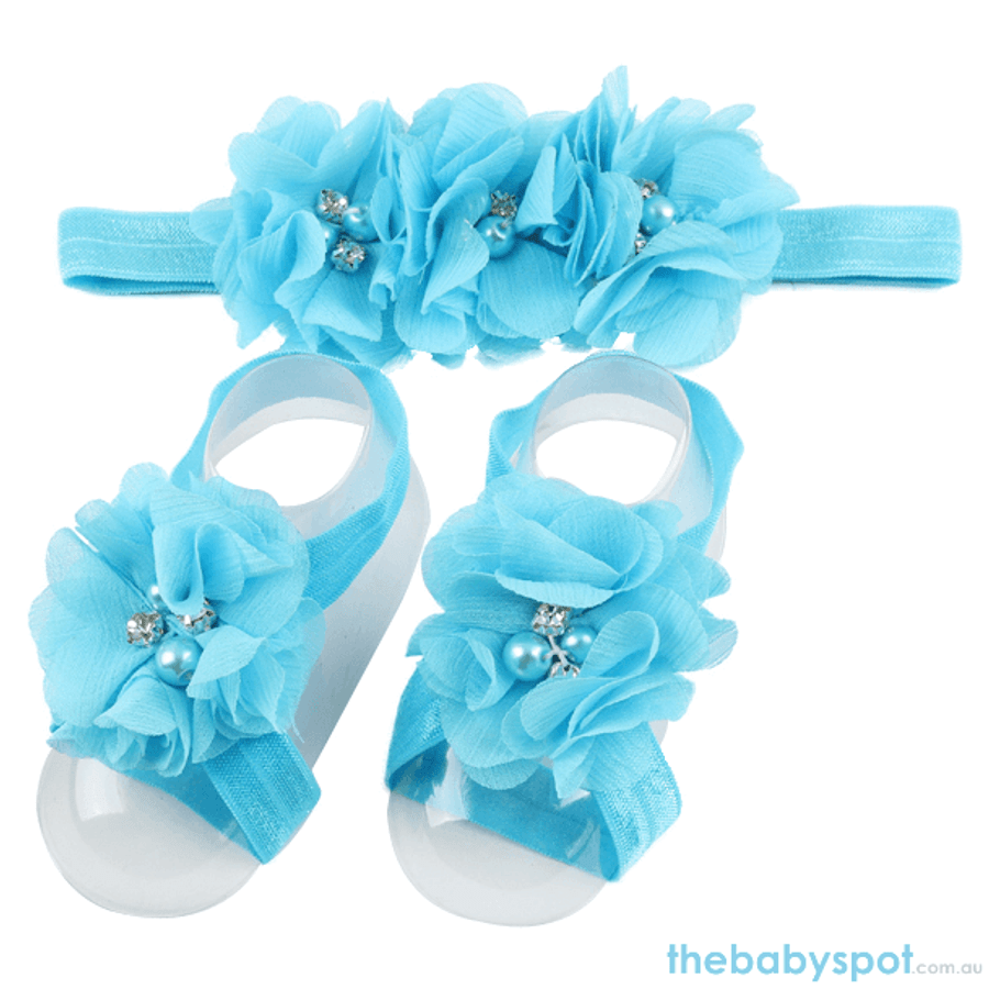 Cute Baby Headband And Shoe Set - Sky Blue