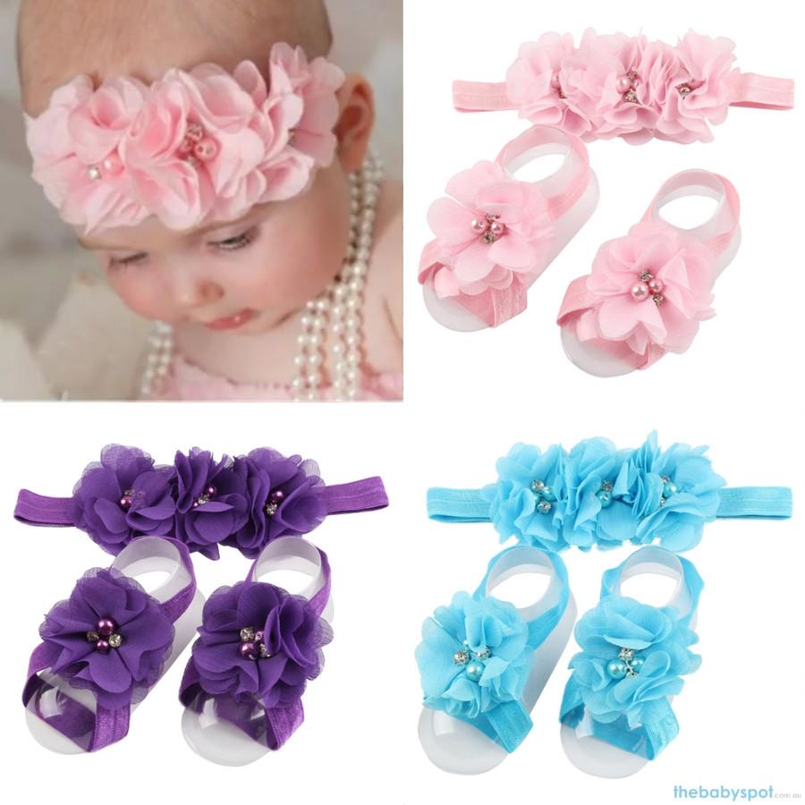 Cute Baby Headband And Shoe Set