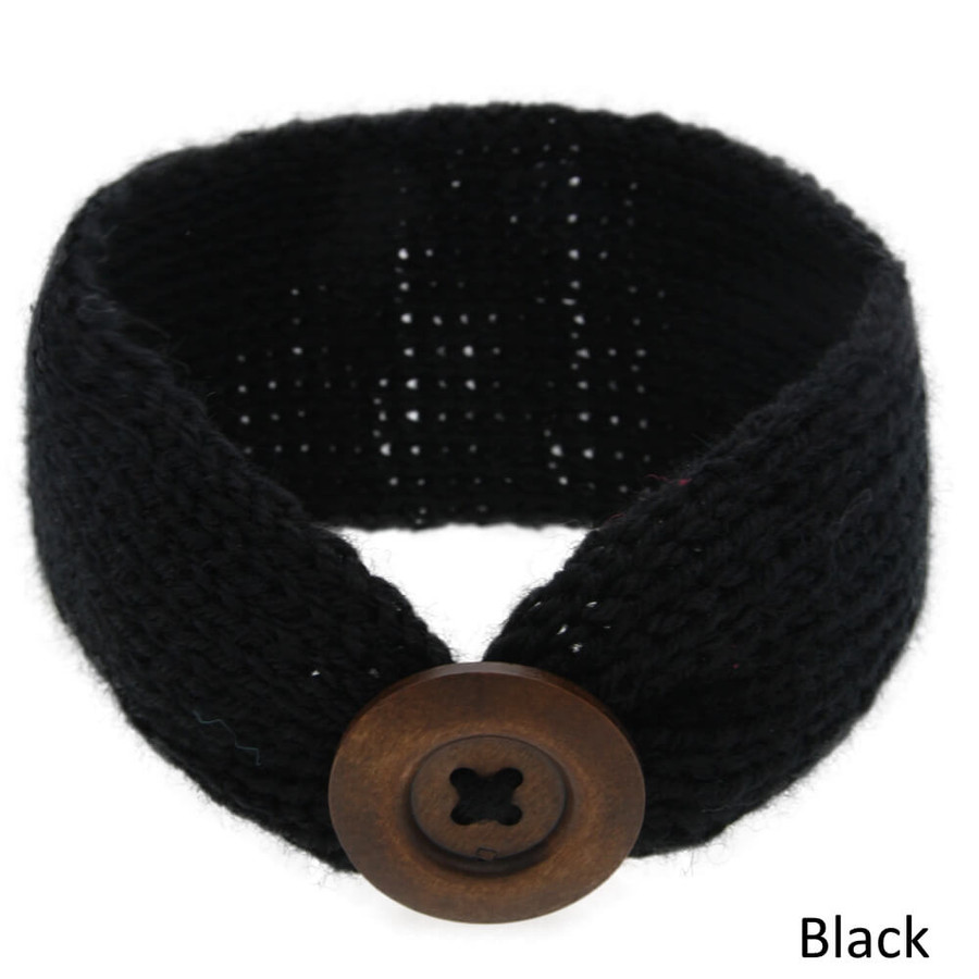 Baby Knitted Headband Head Wrap - Black