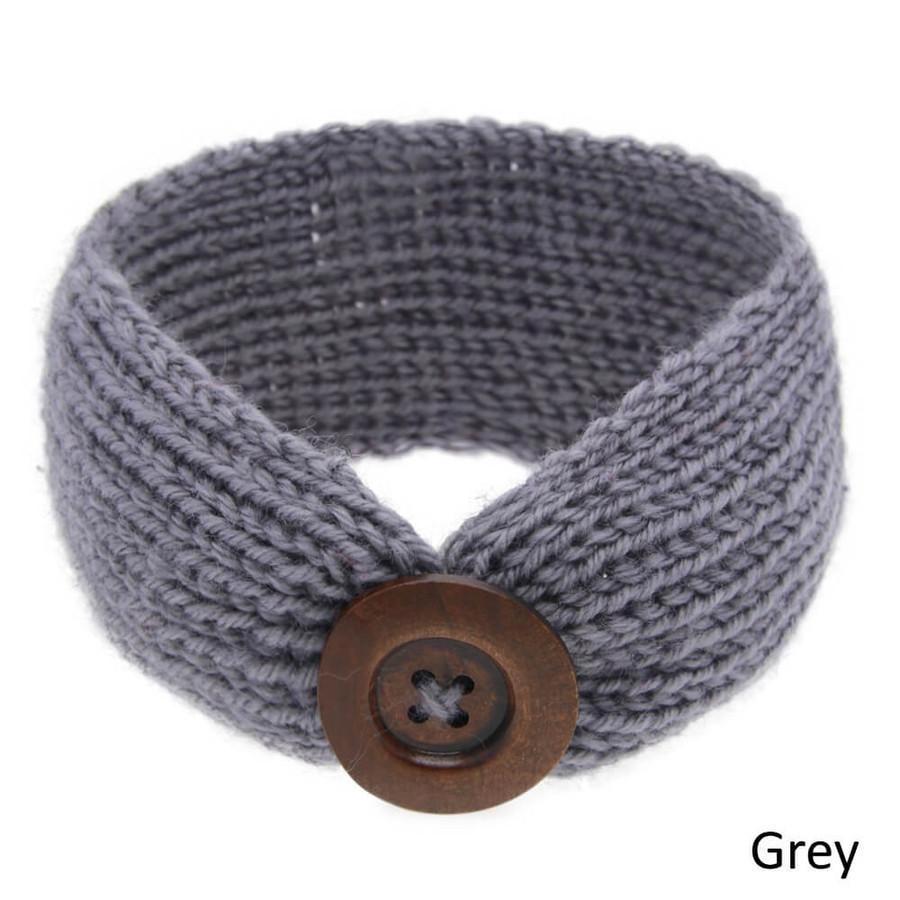 Baby Knitted Headband Head Wrap - Grey