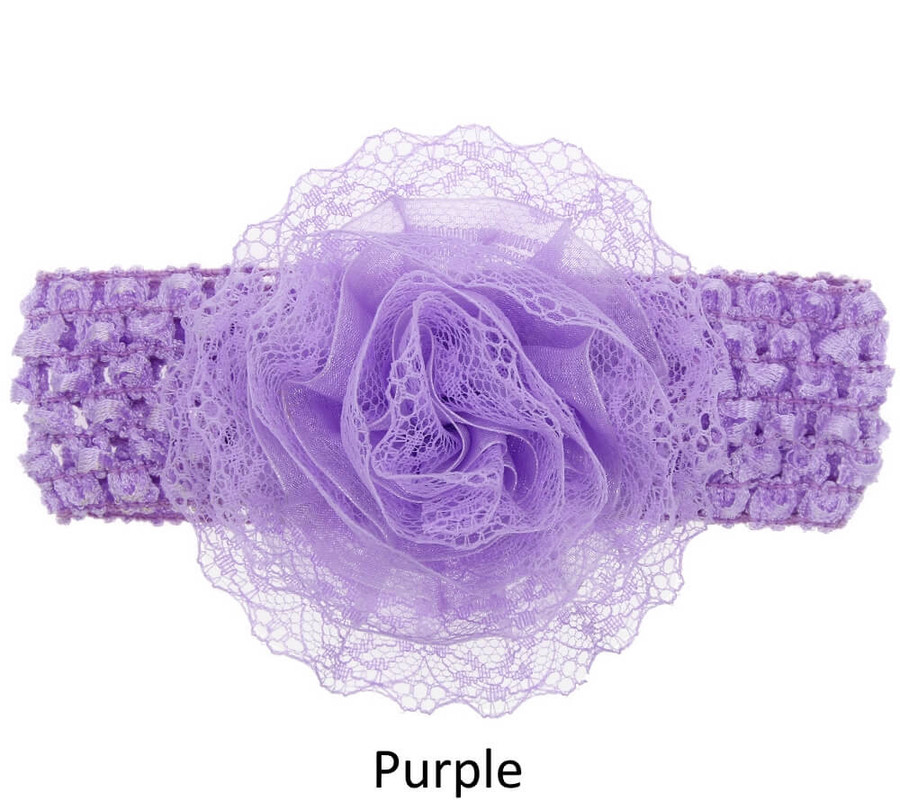 Baby Lace Flower Headband - Wide Elastic Band - Purple