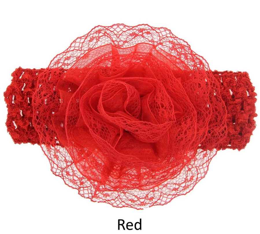 Baby Lace Flower Headband - Wide Elastic Band - Red