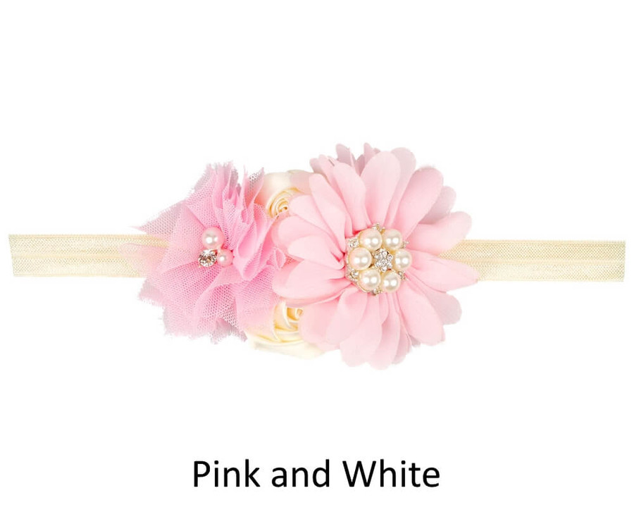 Baby 4 Flower Crown Headband - Pink and White